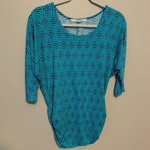 41 HAWTHORN Green Navy 3/4 Sleeve Ruched Tunic - S